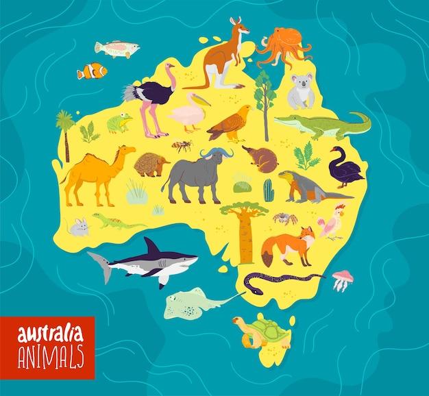 Platte vectorillustratie van australië continent animalsplants papegaai kameel kangoeroe krokodil