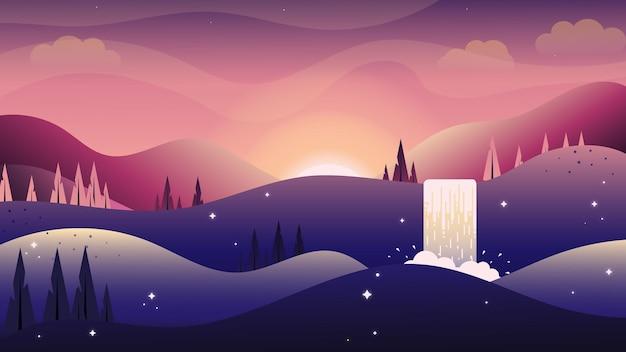 Platte vectorillustratie van avondlucht bergen met zonlicht waterval