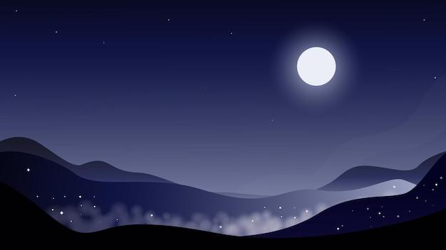 Platte vectorillustratie van bergen nacht bergen mist sterrenhemel maan aan de hemel vector