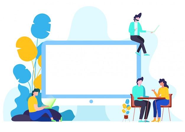 Platte vectorillustratie van communicatie via internet.