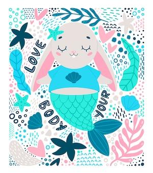 Platte vectorillustratie van cute cartoon bunny zeemeermin in doodle stijl. hou van je lichaam illustratie.