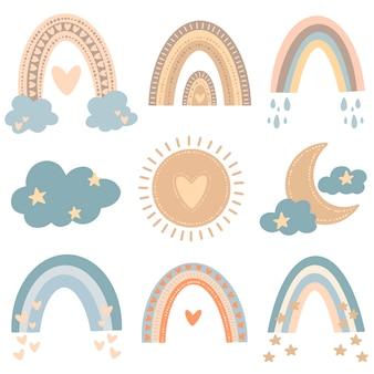 Platte vectorillustratie van cute cartoon regenbogen in gekleurde doodle stijl. weer afbeelding instellen.