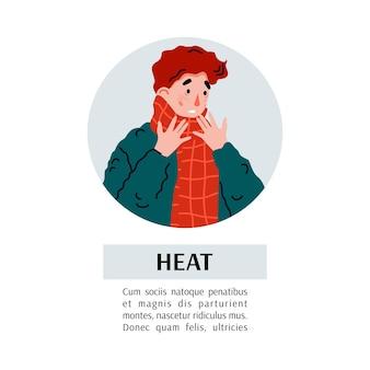 Platte vectorillustratie van de man lijdt aan verkoudheids- en griepsymptomen