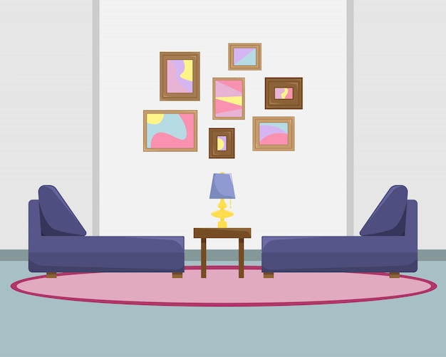 Platte vectorillustratie van de woonkamer met banken en foto's op een muur.
