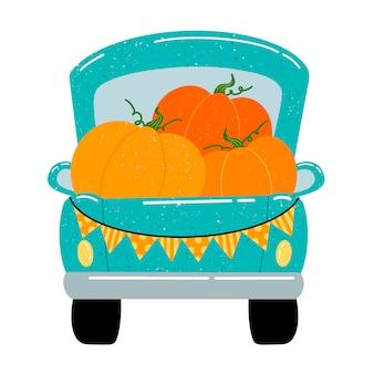Platte vectorillustratie van een leuke cartoon groene pick-up truck met oranje pompoenen.