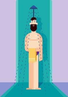 Platte vectorillustratie van een man die een douche neemt