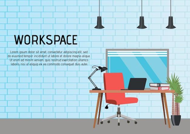 Platte vectorillustratie van een moderne werkplek in een loft-stijl.