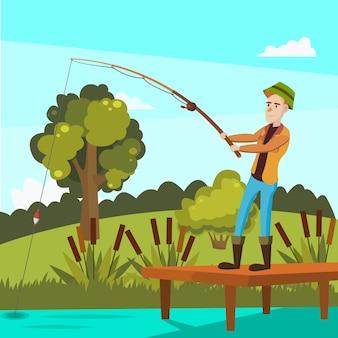 Platte vectorillustratie van een visser in de buurt van de vijver op de vlakte.