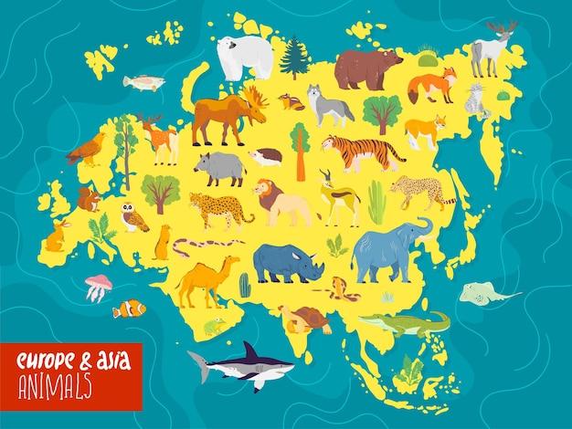 Platte vectorillustratie van europa en azië continent dieren planten