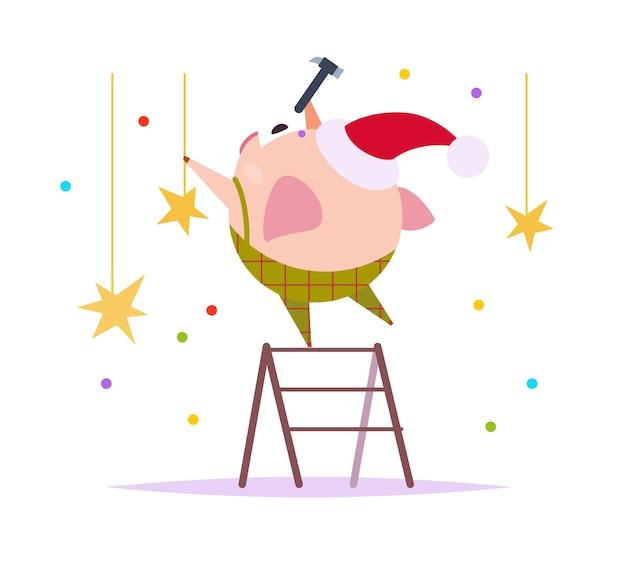 Platte vectorillustratie van grappige kleine varken elf in kerstmuts staande op trappen versieren geïsoleerd op een witte achtergrond. perfect voor webbanners, vakantieverpakkingen, kaarten enz.