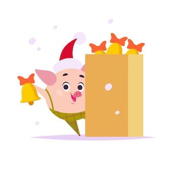 Platte vectorillustratie van grappige kleine varkenself in kerstmuts en doos met deurbellen geïsoleerd
