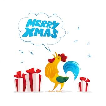 Platte vectorillustratie van haan en kerst geschenkdozen.