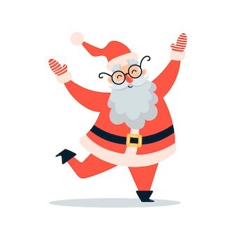Platte vectorillustratie van schattige cartoon kerst santa claus geïsoleerd op een witte achtergrond