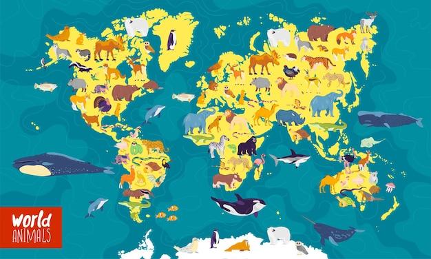 Platte vectorillustratie van wereldkaart met zee oceanen continenten en lokale dieren