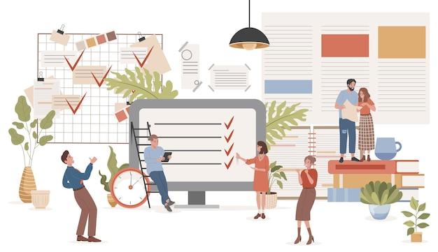 Platte vectorillustratie voor tijdbeheer gelukkige lachende mensen die werk plannen