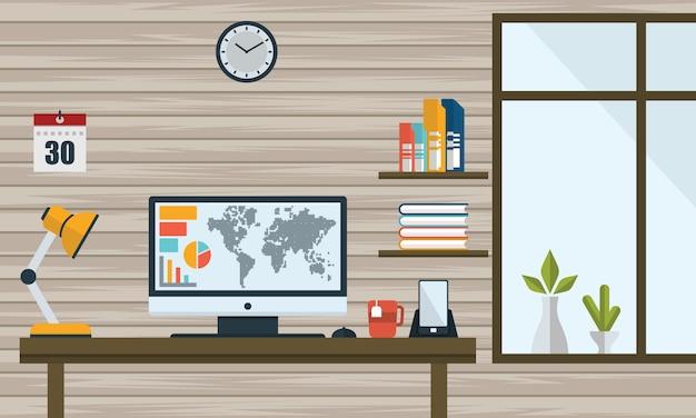 Platte vectorillustratie werkplek concept. het moderne binnenland van het huisbureau - vector