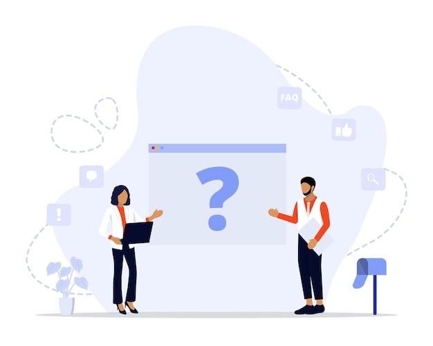 Platte veelgestelde vragen concept