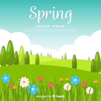 Platte veld lente achtergrond
