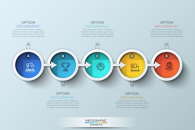 Platte verbinding tijdlijn infographic met vijf opties