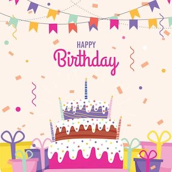 Platte verjaardag achtergrond met cake