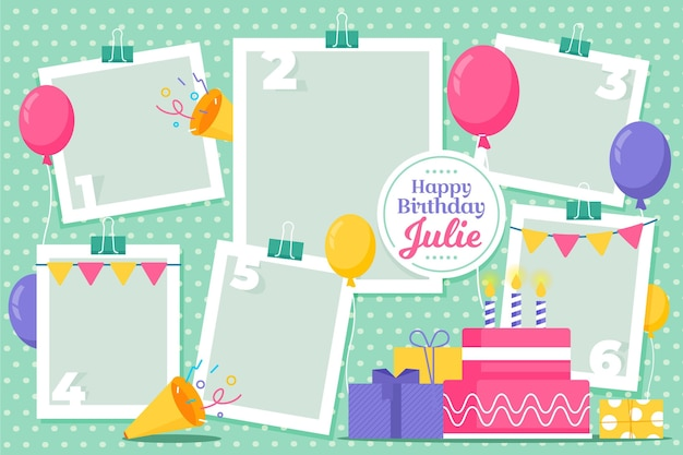 Platte verjaardag collage frames instellen