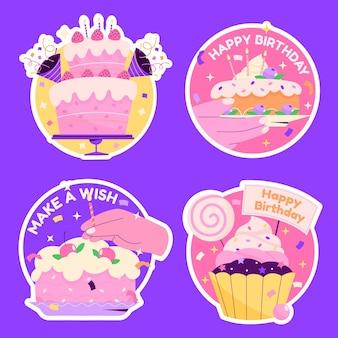 Platte verjaardag stickers collectie