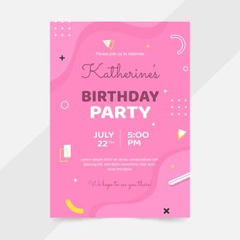 Platte verjaardag uitnodiging sjabloon