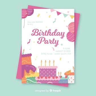 Platte verjaardag verjaardag uitnodiging sjabloon