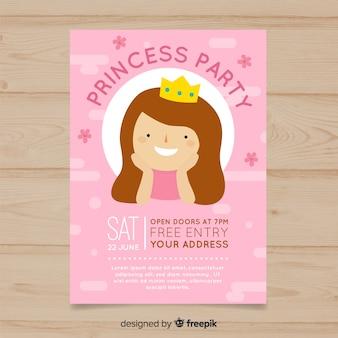 Platte verjaardags prinses uitnodiging