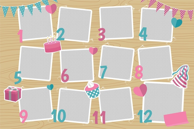 Platte verjaardagscollage frames