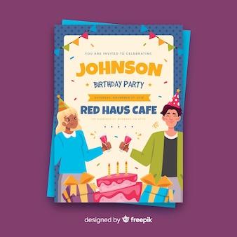 Platte verjaardagspartij kaartsjabloon