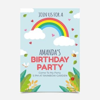 Platte verjaardagsuitnodiging met regenboog