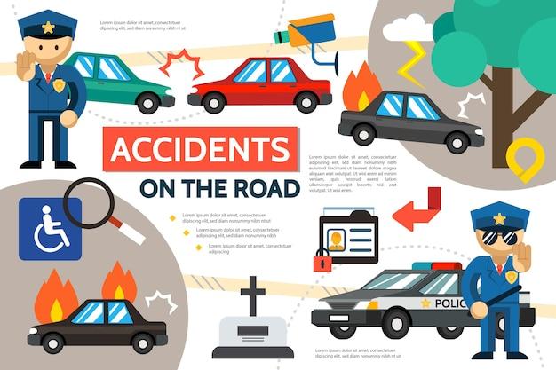 Platte verkeersongeval infographic sjabloon met auto-ongeluk brandende auto voetganger hit politieagenten