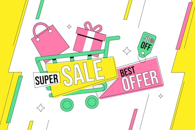 Platte verkoop achtergrond met boodschappentas en geschenkdoos