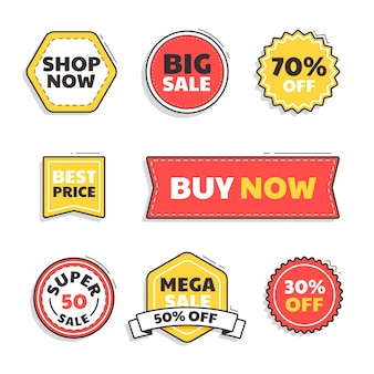 Platte verkoop badge set