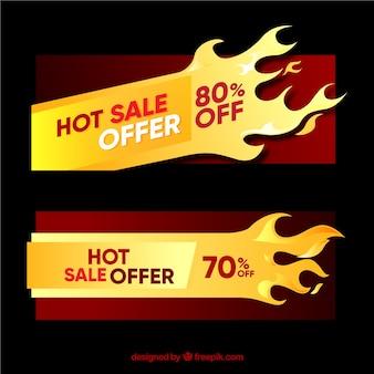 Platte verkoop banners met vlammen