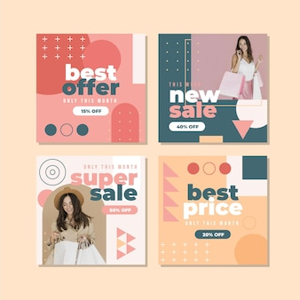 Platte verkoop instagram postpakket met foto