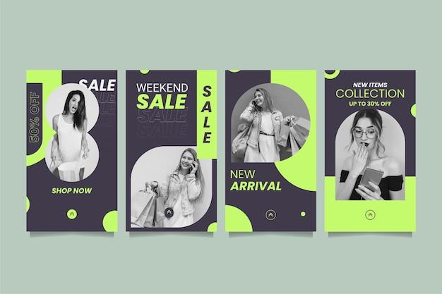 Platte verkoop instagram verhaalset met foto