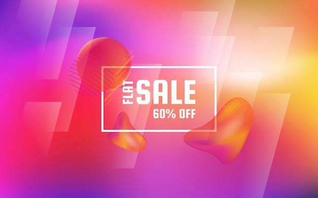 Platte verkoop korting roze achtergrond met vloeibare, abstracte lichte achtergrond