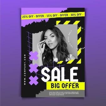 Platte verkoop poster sjabloon met foto