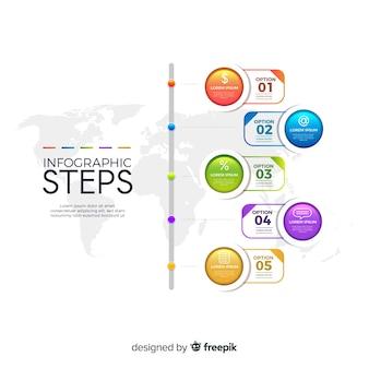 Platte verloop infographic stappen