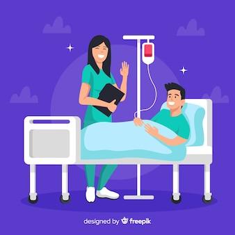 Platte verpleegster met patiënt