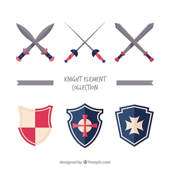 Platte verscheidenheid aan zwaarden en schilden
