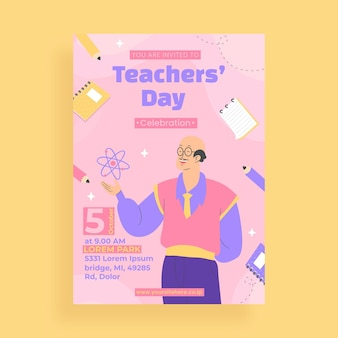 Platte verticale foldersjabloon voor lerarendag