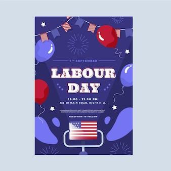 Platte verticale postersjabloon voor dag van de arbeid