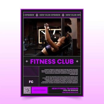 Platte verticale postersjabloon voor gezondheid en fitness met foto