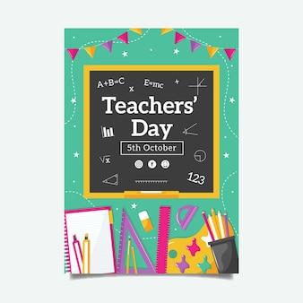 Platte verticale postersjabloon voor lerarendag