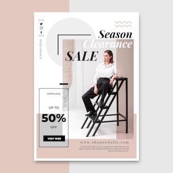 Platte verticale verkoop poster sjabloon met foto