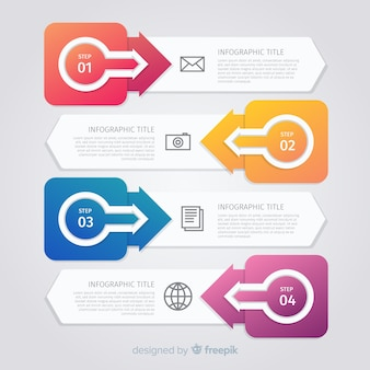 Platte verzameling infographicsstappen