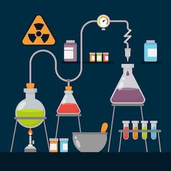 Platte verzameling science lab-objecten